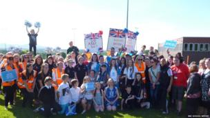 Newbattle High School shows its support for the baton bearers