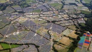 Aerial shot of Glastonbury