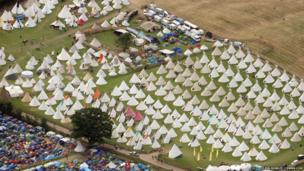 Tepees at the site