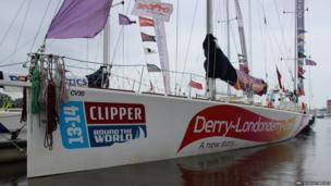 The Derry-Londonderry-Doire Clipper docked on the River Foyle