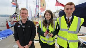 Niall Boyle with School Reporters Cody and Aaron from St Mary's High School Limavady