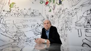 British cartoonist and illustrator, Quentin Blake during the press preview of his exhibition entitled Quentin Blake's Inside Stories in London (1 July 2014)