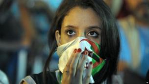 A football fan in Algiers, Algeria (30 June 2014)