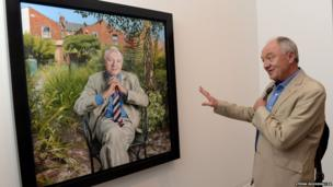 Former Mayor of London Ken Livingstone come face to face with a new portrait of himself by artist Andrew Tift