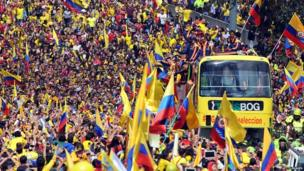 Colombia's players receive a heroes' welcome in Bogota on Sunday