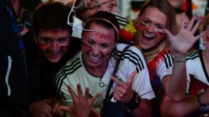 Germany fans celebrate the seventh goal, July 8, 2014.