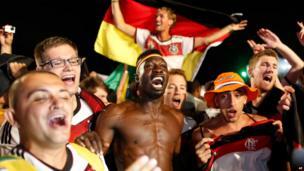 Germany fans on Copacabana beach in Rio de Janeiro, July 8, 2014.
