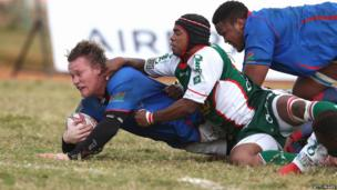 Renaldo Bothma of Namibia dives over for a try during the Rugby World Cup 2015 qualifying match between Madagascar and Namibia at the Mahamasina Stadium, Antananarivo, Madagascar – Sunday 6 July 2014