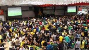 "Football fans gather at the ""mini Oktoberfest"" in Blumenau"