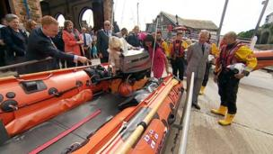 Duke and Duchess of Cornwall with Looe RNLI lifeboat