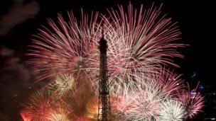 Bastille Day fireworks around the Eiffel Tower, Paris