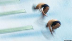 Australia's Maddison Keeney (left) and Anabelle Smith dive during the Women's 3M Synchro Springboard Final during the Fina Diving World Cup in Shanghai, China