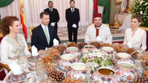 Morocco's and Spain's royalty attend a dinner at the palace in Rabat on 14 July 2014