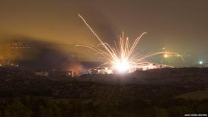 An Israeli rocket is fired into the northern Gaza