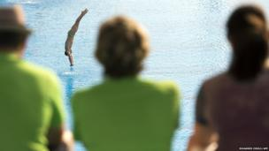 Australia's Nel Grant dives at the Fina Diving World Cup in Shanghai
