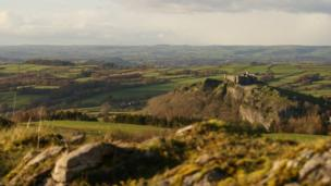 Carreg Cennen Castle as seen from the Black Mountain