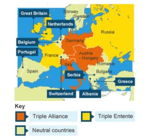 What happened during world war one cbbc newsround map of triple alliance and triple entente gumiabroncs Images
