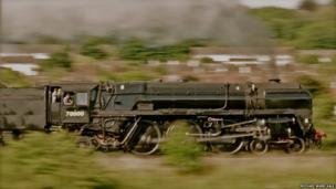Steam locomotive at speed