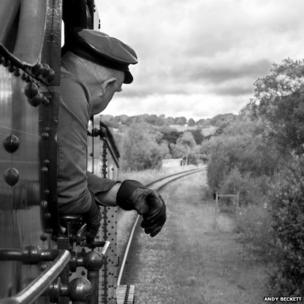 Engine driver looking out of cab