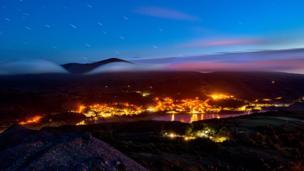 Star trails over Llanberis and Llyn Padarn,