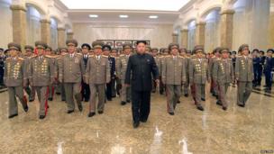 North Korean leader Kim Jong Un visits the Kumsusan Palace of the Sun