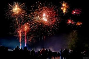 Firework show at Skidby, East Yorkshire.