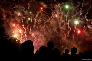 Guy Fawkes night fireworks in Wallingford, Oxfordshire
