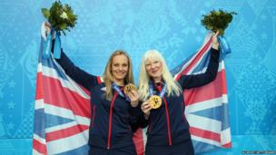 Kelly Gallagher (right) and her guide Charlotte Evans