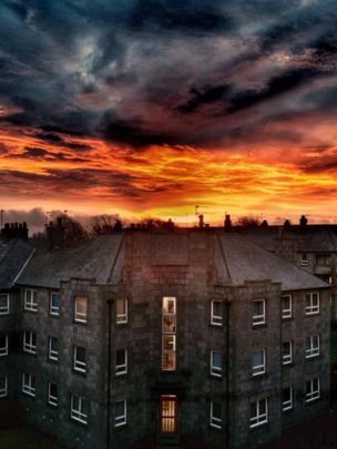 Sunset over flats