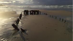 Old shipwreck on Machir Beach