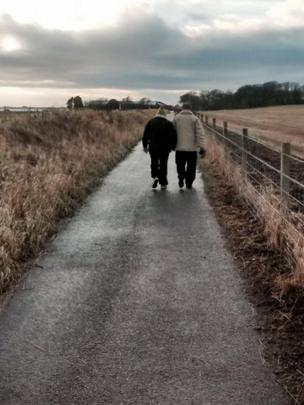 Couple out walking