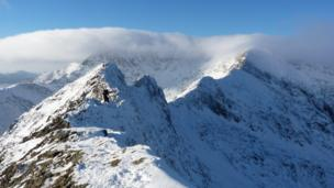 Michael Cotton from Northwich, Cheshire took this snowy picture Crib Goch in Snowdonia
