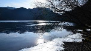 Gwynedd's Llyn Dinas on an icy day by Sharon Jones-Williams