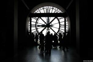 Figures in front of a clock face