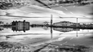 East Float Dock in Birkenhead, towards Liverpool