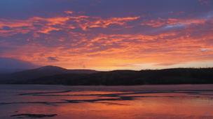 Sunset over the Conwy estuary with Snowdonia National Park in the background, as seen by Pilvi Lassila, from Helsinki, Finland