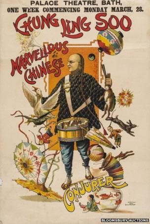 Marvellous Chinese Conjurer. Palace Theatre Bath lithographic poster in colours, printed by J. Upton Lith.