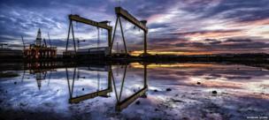 Shipyard cranes at sunrise in Belfast - Panoramic winner - Norman Quinn, United Kingdom