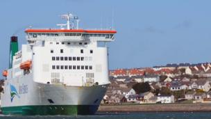 The ferry sailing into Pembroke dock with Neyland in the background, photographed by Dai Phillips from Milford Haven