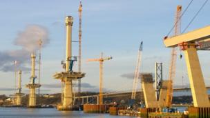 Construction work on the Forth Crossing