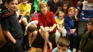 Nicola Sturgeon visits an after school club in Loanhead