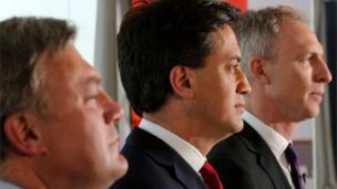 Ed Ball, Ed Miliband and Jim Murphy at general election campaign conference in Edinburgh