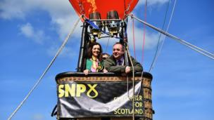 Alex Salmond campaigning with SNP candidate for Perthshire South and Ochil, Tasmina Ahmed Sheikh