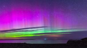 The Northern Lights over, Cemlyn Bay, Anglesey