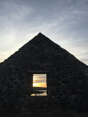 Sunset through a window