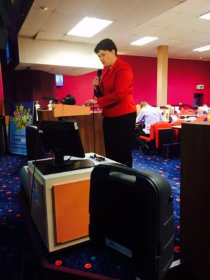 Ruth Davidson calling the bingo in Leith