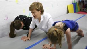 Nicola Sturgeon visits a gymnastics club in Cumbernauld.