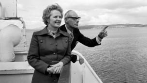Margaret and Denis Thatcher on the Clyde