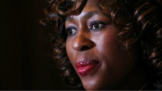Makhosi Khoza gestures during an interview with Reuters in Johannesburg, South Africa, July 18,2017