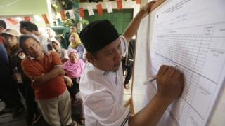 Election workers in Jakarta, Indonesia (15 Feb 2017)